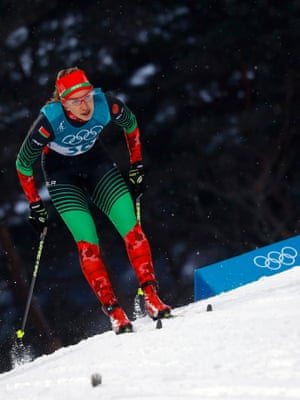 Polina Seronosova of Belarus during the women's sprint classic qualifications at the Alpensia Cross-Country Skiing Centre.