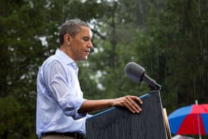 14 July: 'The president delivers remarks in the pouring rain at a campaign event in Glen Allen, Virginia. He was supposed to do a series of press interviews inside before his speech, but since people had been waiting for hours in the rain he did his remarks as soon as he arrived so people could go home to dry off '