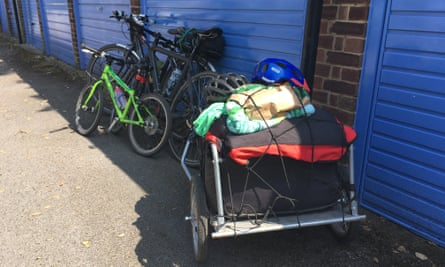 The three bikes - and heavily-laden trailer - back home at the end of the trip.
