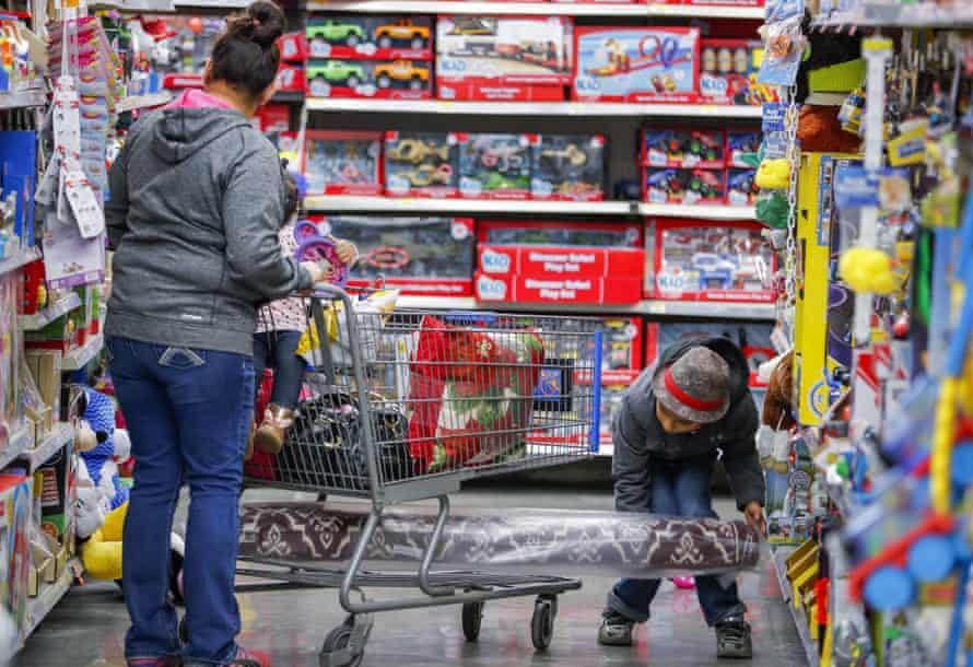 mother and child in toy shop