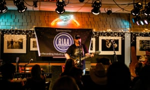 Open mic night at the Bluebird Cafe.