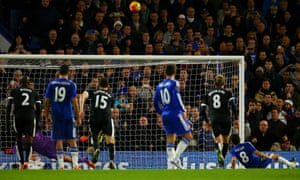 Oscar slips and sends his penalty looping over the Watford bar.