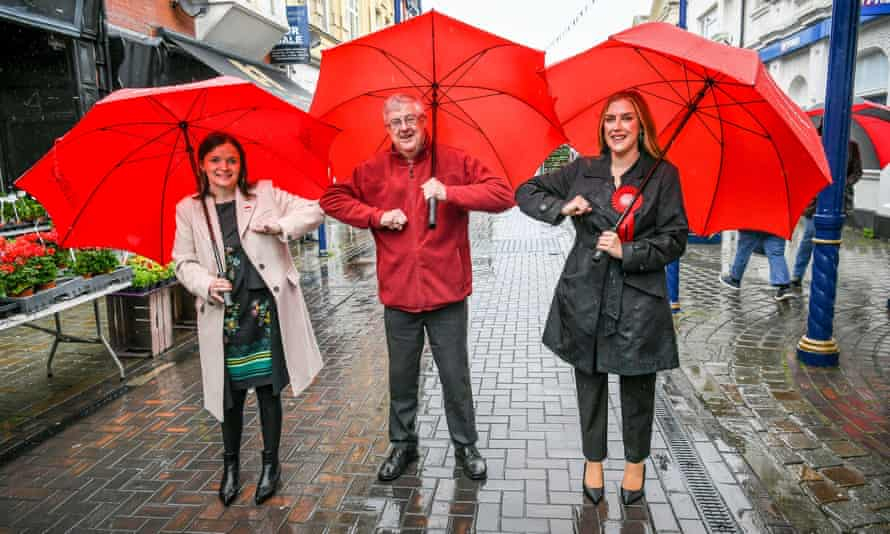 The Welsh first minister, Mark Drakeford (centre), with newly elected Labour Senedd members Elizabeth Buffy Williams (left) and Sarah Murphy.