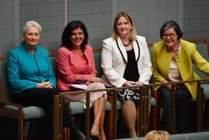 (L-R) Crossbenchers Kerryn Phelps, Julia Banks, Rebekha Sharkie and Cathy McGowan in the House of Representatives on Thursday.