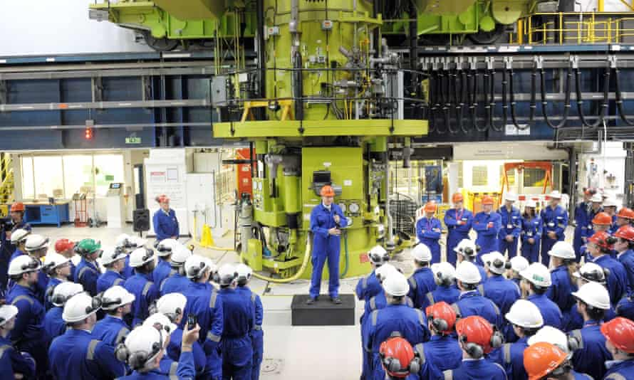 Prime Minister David Cameron speaks to workers at Hinkley Point B in Somerset in 2013