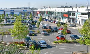 Lakeside Thurrock retail shopping centre with Dartford Crossing beyond