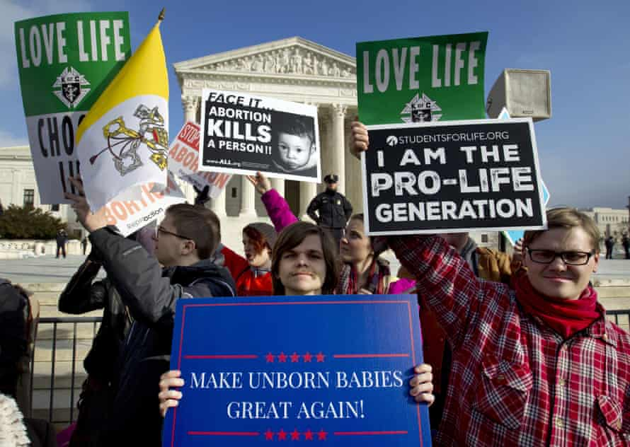 Anti-abortion activists protest outside the supreme court during the March for Life in Washington DC, on 18 January 2019.