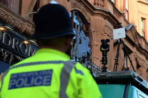 facial recognition technology in use near leicester square, London