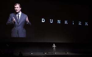 Christopher Nolan discusses his new film Dunkirk during the Warner Bros presentation.
