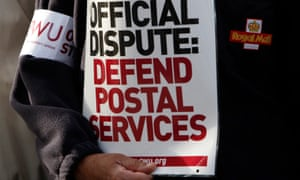 Picketing outside a Royal Mail sorting office.