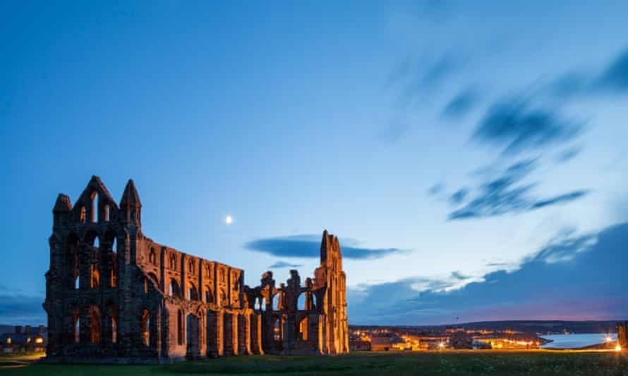 The moon over Whitby Abbey