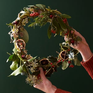 A Christmas wreath made from natural materials by Maud and her family