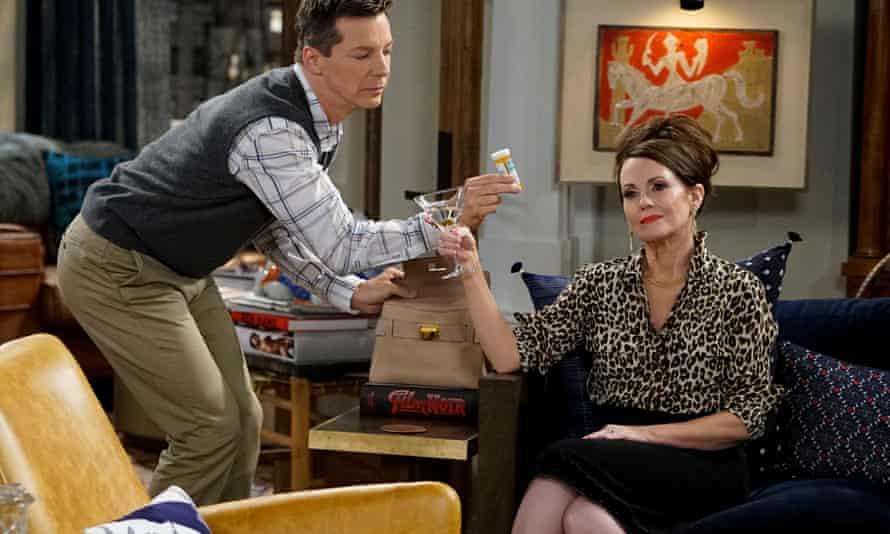 Sean Hayes as Jack McFarland, Megan Mullally as Karen Walker in Will & Grace.