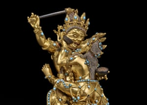 Raktayamari in union with Vajravetali (detail), Tibet, 1500s–1600s.