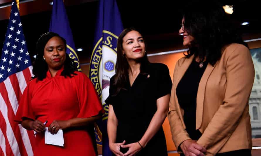 Alexandria Ocasio-Cortez stands with Ayanna Pressley and Rashida Tlaib in Washington DC, on 15 July 2019.