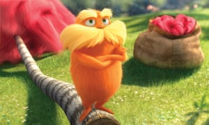 A still from the film of Dr Seuss' The Lorax. The book tells of the creature's efforts to save a forest.
