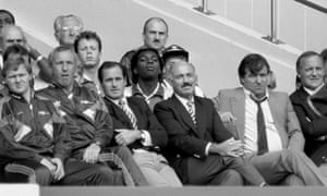 George Graham and Terry Venables take in the action from the sidelines at Wembley.