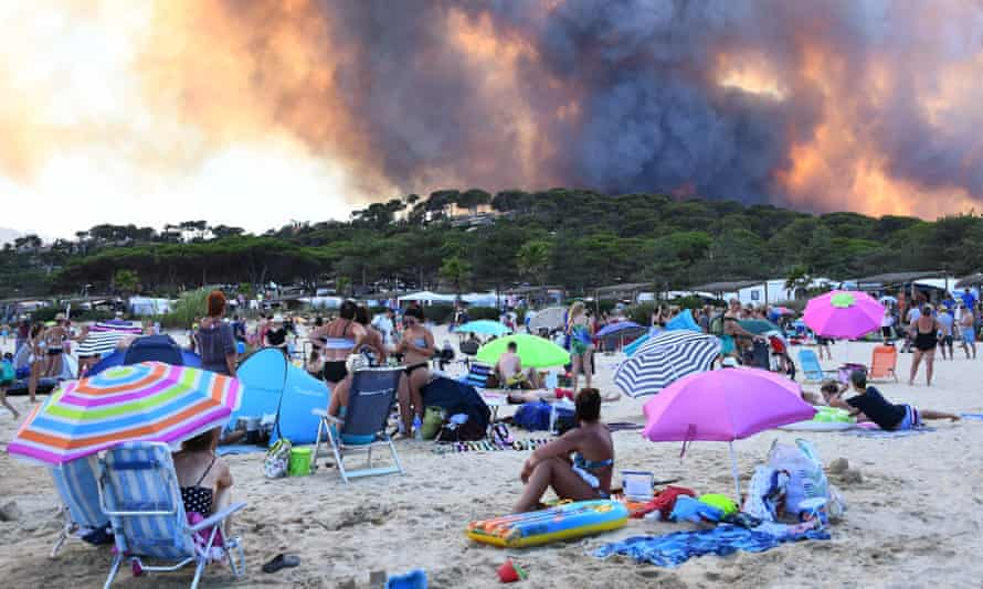 A forest fire in southeastern France.