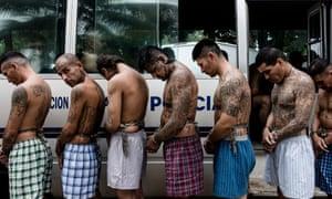 Arrested gang members in San Salvador.