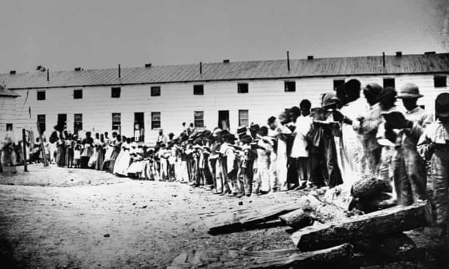 Freed slaves in Freedman's Village, in Arlington, Virginia, taken in the 1860s.