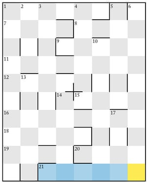 A crossword grid from the New Yorker magazine.