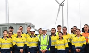 South Australia premier Jay Weatherill with construction staff at the launch of Tesla's 100-megawatt at Jamestown in December.
