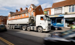 A lorry on North Street in the centre of Bridgwater, returning after dropping its load of aggregate at Hinckley Point C.