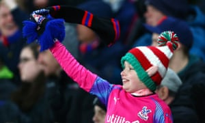 A festive Crystal Palace fan enjoying the team's Boxing Day win.