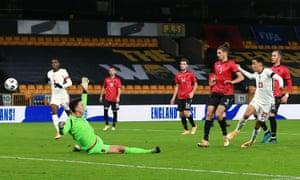 Jamal Musiala scores for England's Under-21s against Albania last month.
