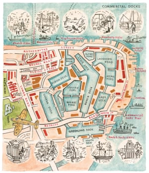 Commercial docks at Rotherhithe map