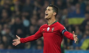 Cristiano Ronaldo celebrates what turned out to be a consolation goal in Kiev.