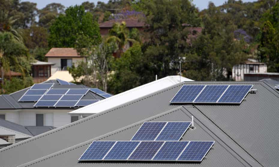Solar panels on the rooftops of houses