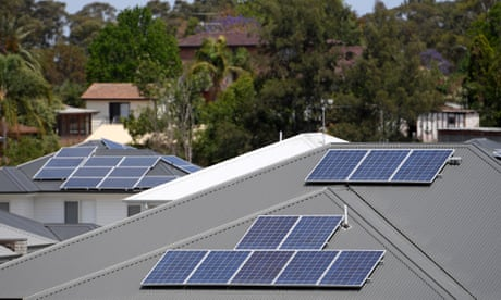 Solar panels are seen on the rooftops of houses in The Ponds, north west of Sydney, Tuesday, October 17, 2017. (AAP Image/Dan Himbrechts) NO ARCHIVING