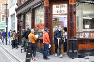 Queues outside The Sounds of the Universe record shop on Record Store Day in Soho, London.