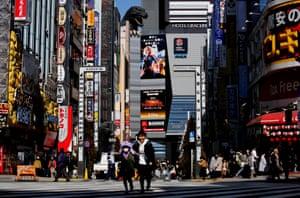 Godzilla atop the Toho cinema in Tokyo.
