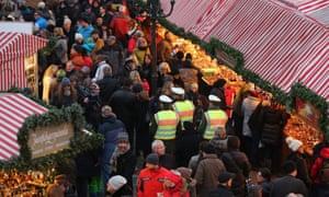 Police on patrol at Nuremberg Christmas market.