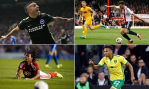 Brighton and Hove Albion's Anthony Knockaert, Brentford's Scott Hogan, Jacob Murphy of Norwich and Nottingham Forest's Hildeberto Pereira