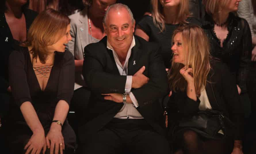 Philip Green with Sarah Brown (left) and Kate Moss at a charity fashion show in 2010.