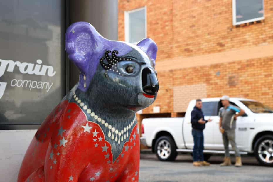A statue of Lady Koala painted on the Hello Koalas Sculpture Trail