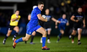 Jordan Larmour races clear to score Leinster's second try at the Rec.