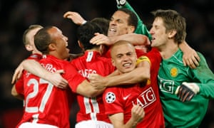 Manchester United's players celebrate victory against Barcelona in Champions League semi-final second leg at Old Trafford.
