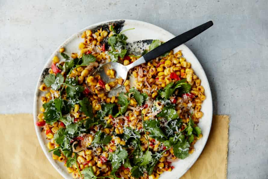 Anna Jones's blackened corn salad with pickled chilli.
