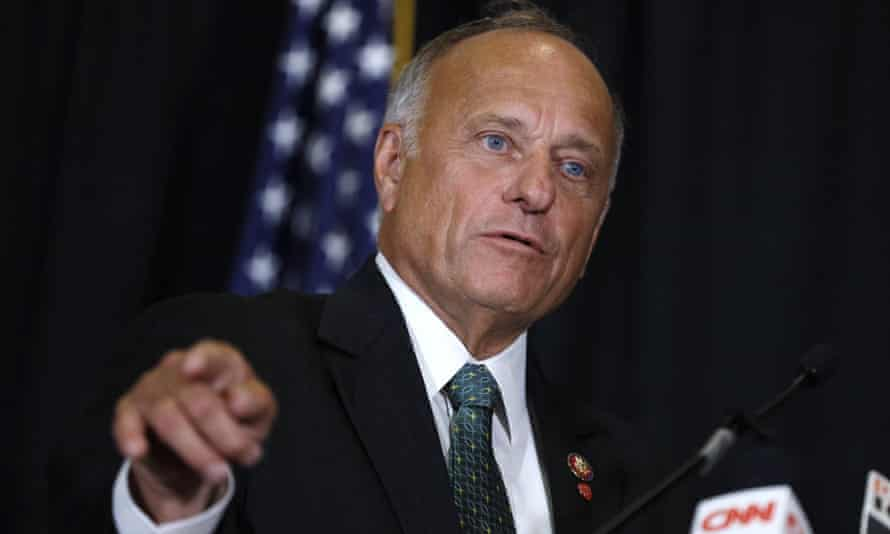Representative Steve King, of Iowa, speaks during a news conference in Des Moines, Iowa, in August 2019.