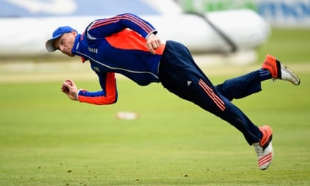 England wicketkeeper Jos Buttler in acrobatic action during a nets session