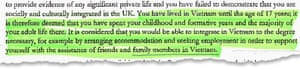 An excerpt from the refusal letter sent by the Home Office to a Vietnamese asylum seeker