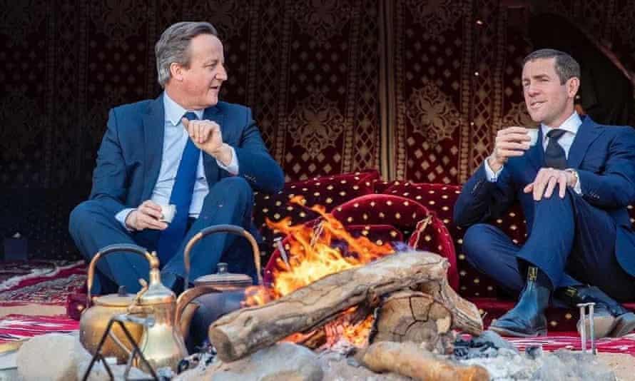 David Cameron and Lex Greensill in Saudi Arabia, January 2020