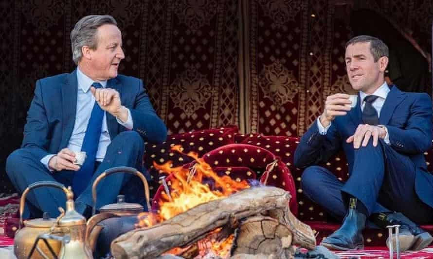 David Cameron, left, and Lex Greensill in Saudi Arabia in January 2020