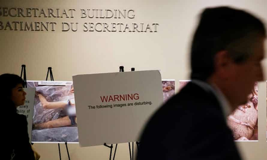 A warning at the exhibition of the 'Caesar' photographs at the UN headquarters in New York