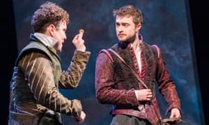 Joshua McGuire and Daniel Radcliffe as the title characters in Rosencrantz and Guildenstern Are Dead.