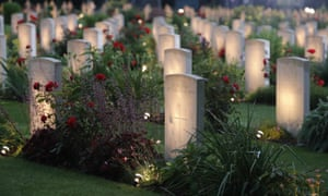 Gravestones at Thiepval Memorial, France, illuminated for the Battle of the Somme centenary